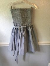 Hollister Strapless Dress White light Blue Strips stretch Medium underskirt