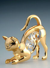 "SWAROVSKI CRYSTAL ELEMENTS ""Cat"" FIGURINE - ORNAMENT 24KT GOLD PLATED"