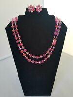 Vintage Dark Pink Faceted Crystal Glass Bead Necklace & Earrings Set Kramer Styl