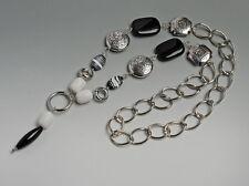 Cadena con piedras naturales perlaluce. color plateado, negro, blanco. nuevo!!! KP 39,99 €