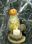 Yankee Candle Halloween Pumpkin Witch Crows in Graveyard Tea Light Candle Holder