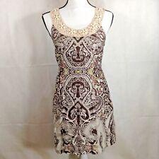 Free People Womens Dress Paisley Print Boho Brown Beige Crochet Beaded Size 4