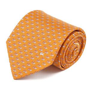 Salvatore Ferragamo Orange Silk Tie with Tortoise and Hare Print NWT $190