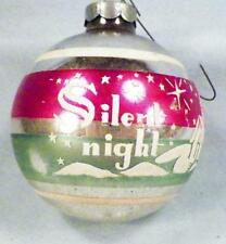 Mercury Glass Christmas Ornament Ball Silent NIght Silver Pink Large Vintage #34
