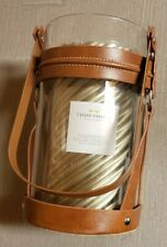 Threshold Hurricane Bridle Lantern & Unscented Pillar Candle *New* Rustic Farmho