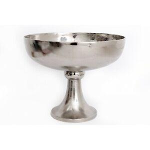 Polished Silver Decorative Fruit Pedestal Bowl Planter w/ Feet Stand Centerpiece