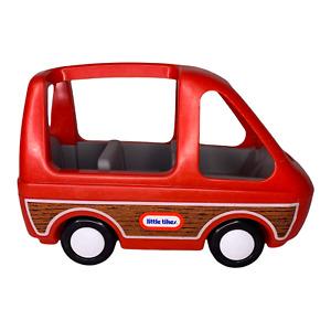 Vintage Little Tikes Dollhouse Red Mini Van Family Car Vehicle Toy Wood Paneling