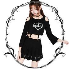 Japanese Sweet Lolita Vintga Gothic Braces Clip Off-The-Shoulder Darkly Tops