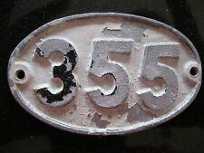 Original Reclaimed Cast Metal Alloy Oval Number, House, Gate, Workshop 355