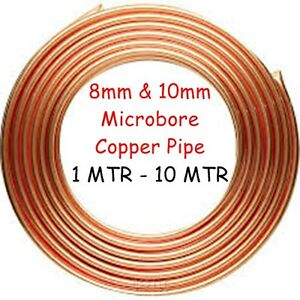8mm & 10mm Copper Pipe Microbore GAS WATER LPG OIL DIY PLUMBING CENTRAL HEATING