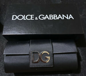 """Dolce & Gabbana Eye Glasses Case Black  ~ Magnetic Clamshell D&G 6.5"""" With Box"""