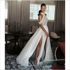 New Lace Chiffon Split Side Beach Wedding Dress White Ivory Stunning Bridal Gown