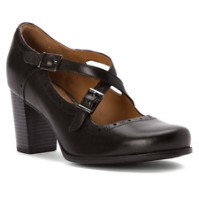 Clarks Ladies Mary Jane Shoes CIERA SEA Black Leather UK 5.5 / 39