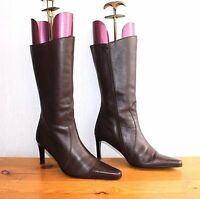 Women's Vintage HUSH PUPPIES CHILLIES Mid Calf Brown Real Leather Boots UK6 EU39