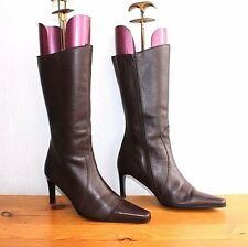 Brown 100%  Real Leather HUSH PUPPIES CHILLIES Mid Calf  Boots Size UK 6 EU 40