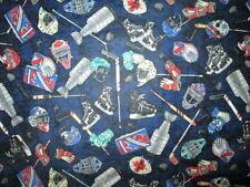 HOCKEY PLAYERS EQUIPMENT SPORTS SKATES GLOVES STICKS NAVY BLUE COTTON FABRIC FQ