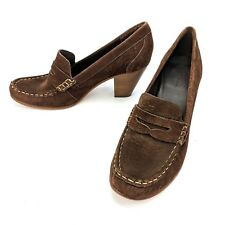 LL Bean Brown Suede Leather Moc Toe Pumps Loafer Heels Women's Size 9M