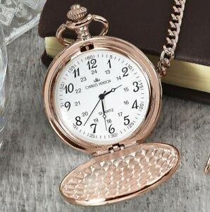 Engraved FREE Rose Gold Coloured Pocket Watch Christmas Birthdays Weddings Gift