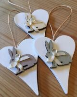 3 X Easter Bunnies Spring Hanging Decorations Handmade Real Wood Neutrals