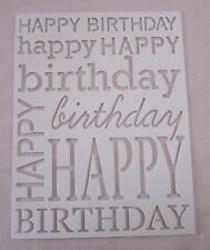"""Poppy Stamps 2 Die Cut Happy Birthday Card Fronts White 4.25"""" X 5"""" Fits A2 Card"""