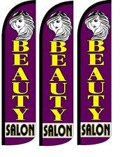 Beauty Salon Windless Standard Size  Swooper Flag Sign Banner Pk of 3