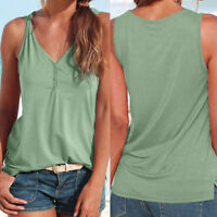 Women Summer Strappy V Neck Sleeveless Vest Tank Top Casual Solid T-Shirt Blouse