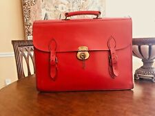 English Vintage Thick Bridle Leather Briefcase / Attache - Handmade In England
