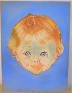 Vintage Original Chalk Drawing on Board of Little Girl Art Work Baby Child Decor