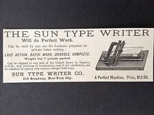 ANTIQUE 1886 AD (1800-4)~THE SUN TYPE WRITER. SUN TYPE WRITER CO. NYC.