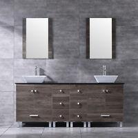 "72"" Bathroom Vanity Wood Cabinet Double Ceramic Sink Modern Design w/Mirror NEW"