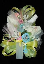 Baby Shower Corsage White Baby Socks Yellow & Green Ribbons Handmade