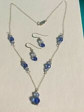 Ladies 925 Sterling Silver Blue Crystal Bead  Necklace and Earring Set
