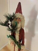 """Vintage St. Nicholas Santa Claus Primitive Christmas Folk Art Decor Figure 20"""""""