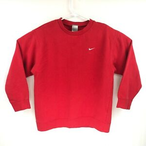 Vintage Nike Youth Red Essential Fleece Long Sleeve Crewneck Pullover Size Large