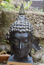 A Antique Old Asian Bronze Buddha Head Bust Wooden Stand Theravada Sukhothai