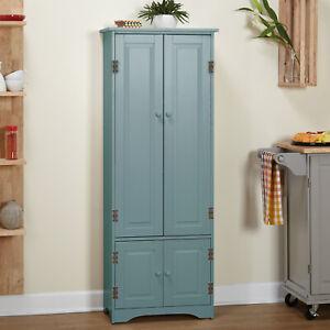 Antique Blue Wood Country Kitchen Cabinet Storage Organizer Cupboard 5ft Tall