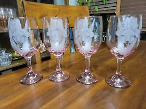 Wine Glasses Set Of 4 With An Etched Iris