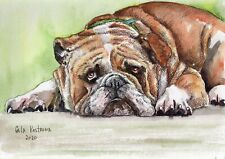 English Bulldog original Gala Kostroma watercolor dog painting animal pet art