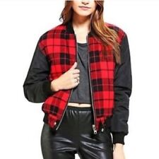 UNIF Womens Coat Bomber Jacket Medium Red Plaid Black Reversible New UO 1507