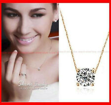 18K GOLD FILLED ROUND 1.5CT SOLITAIRE SIMULATED DIAMOND SOLID NECKLACE PENDANT