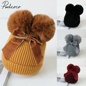 Pudcoco Baby Girl Winter Hat Baby Stuff Double Pompom Hat Knitted Kids Warm Cap