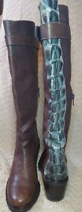 Women's Stuart Weitzman Tall Brown Leather Alligator Heel Zip Boots Size 6.5