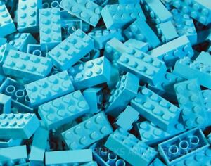 LEGO BRICKS 100 x MEDIUM AZURE 2x4 Pin From New Sets Sent in a Clear Sealed Bag