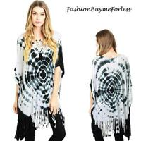 Hippie BOHO Gypsy Black Tie Dye Kimono Sleeve Oversize Fringe Tunic Top S M L XL