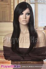Long Straight Mono Top Wig Soft Black
