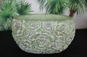 Planter Flower Pot Flowerpot Vase Stone Cast Green 12,5cm Oval 1,8kg New