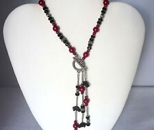 New ListingFront Fasten Necklace Greyhound Dog Beads Designer Jewelry Red, Black and Silver