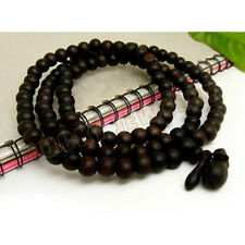 8mm Tibet Buddhism 108 Roast Peach Wood Prayer Bead Mala Necklace