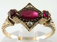 SUPERIOR 9K 9CT ART DECO INS INDIAN RUBY & PEARL RING FREE RESIZE