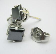 AAA+ 2.20 TCW Jet Black Princess cut Stud solatire silver Earrings graded $ 239